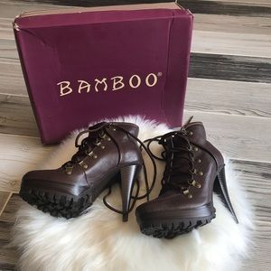 Bamboo Harper Lace-up Platform Ankle Boots